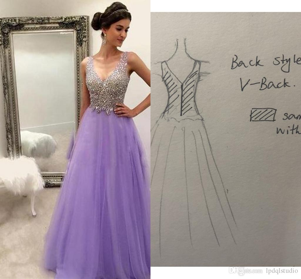 Eye Catching Long Prom Dress Shining Sequins Beads Top Light Purple Evening Gowns Floor Length