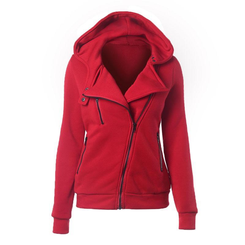 2020 Style Fashion Frauen Hoodie Mäntel plus Samt Pullover Frauen-Herbst-Winter-mit Kapuze Langarm Oblique Zipper Wintermantel