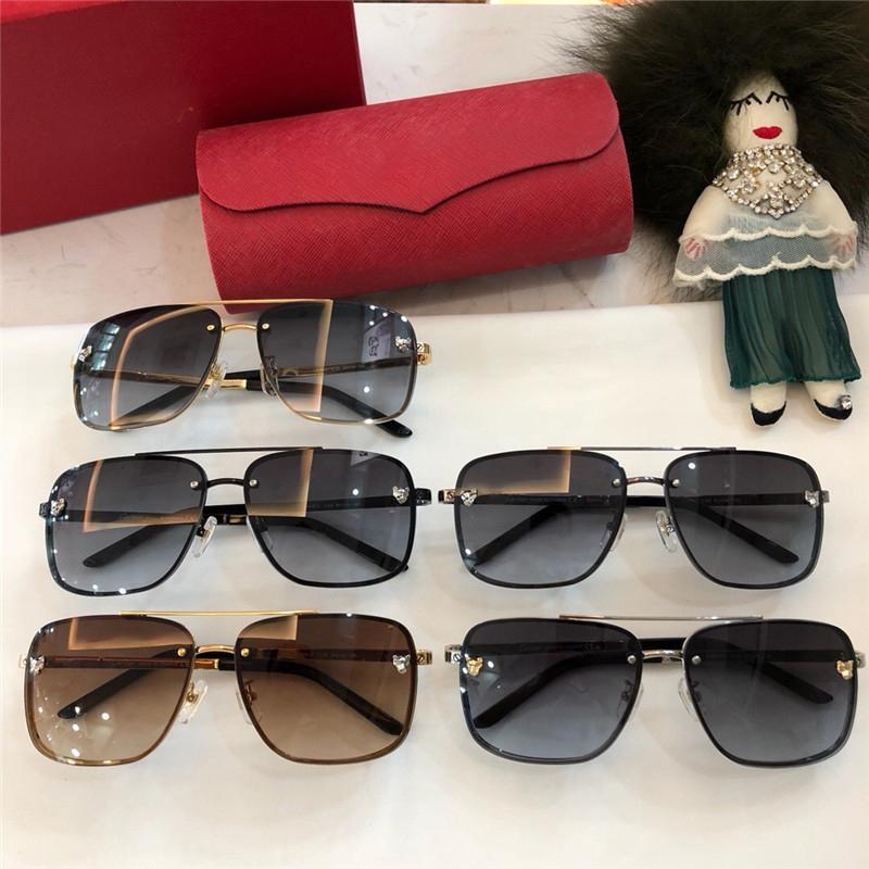 Gafas de sol cuadradas para mujer / hombre Marco negro / dorado Lente espejada dorada GAFAS DE SOLAR MARCA Con estuche original NUMCR180926-2