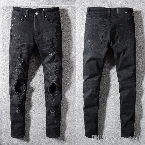 2019 Mens New calças estilo motociclista magros elásticos Jeans Men rasgado Calças Streetwear as calças dos homens afligido Jogging Jeans # 3520