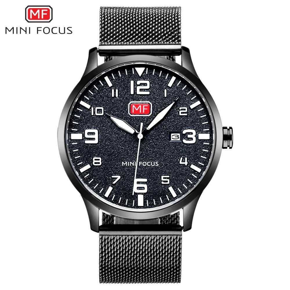 MINIFOCUS Reloj de pulsera de cuarzo con banda de acero negro para hombre Negocio Ultrafino Hombres Impermeable Calendario Reloj de regalo de lujo Relogio Masculino MF0158G