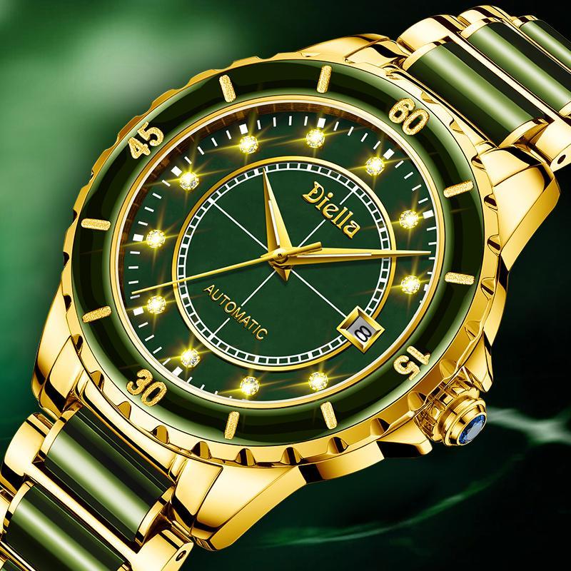 Top Smaragd Jade automatische Männer mechanische Uhr Sapphire Spiral Leuchtzeiger Kalender Mann-Armbanduhr Schweiz Marke