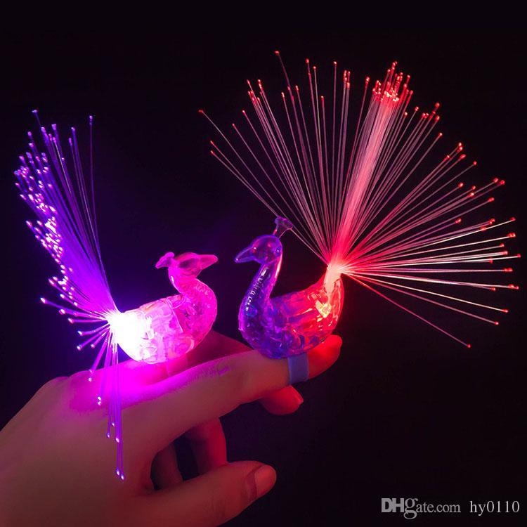 Pavão de pavão pavão de desenhos animados LED de dedo iluminado anéis luminosos night brinquedos brinquedos