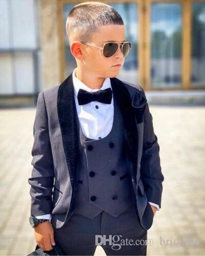 Baby Boys Abiti formali per matrimoni Inghilterra stile Bambino Grigio Prom Party Set formali Flower Boys Suits Blazer + Pantaloni + Gilet