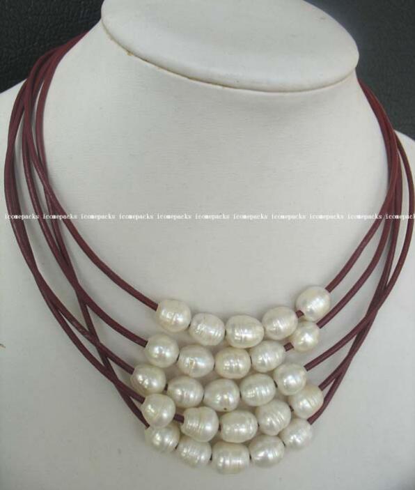 """gros noble 17.5 """"nature 10-12mm blanc perle d'eau douce oeuf collier collier Livraison Gratuite"""
