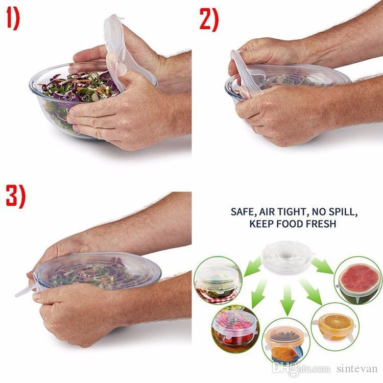 6pcs en 1 Set de cubierta impermeable sello de silicona estiramiento de succión Pot tapas reutilizable fresco Mantener Universal Seal Wrap tapa de una olla cubierta tope de la cubierta