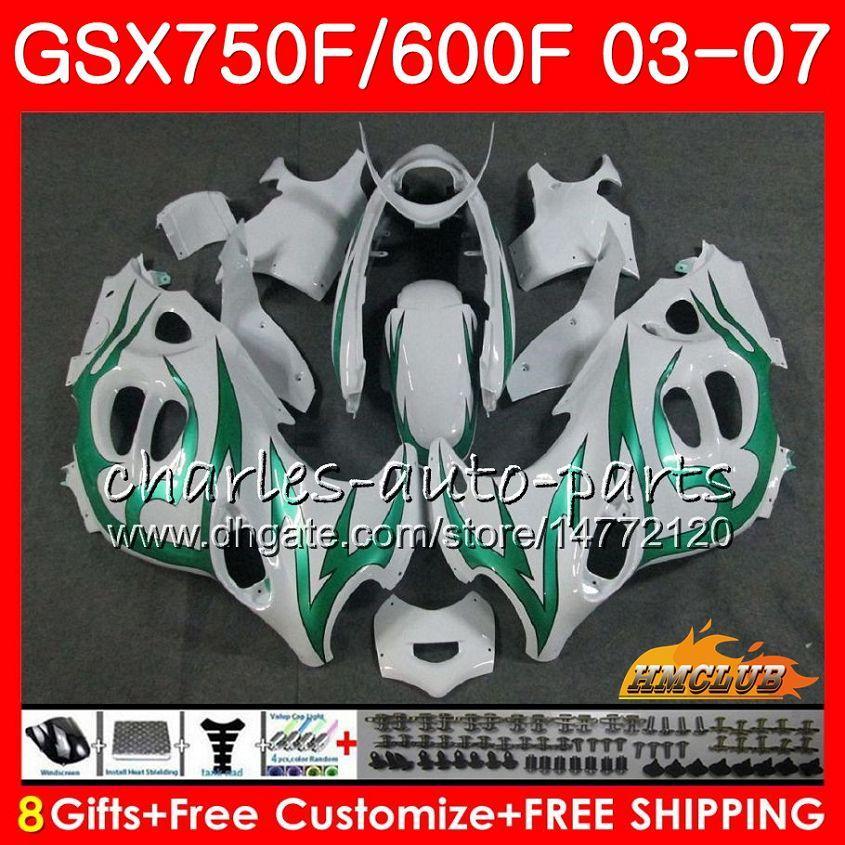Body Kit voor Suzuki Green Flames Katana GSXF600 GSXF750 03 04 05 06 07 3HC.34 GSX750F GSX600F GSXF 750 600 2003 2004 2005 2006 2007 Kuip