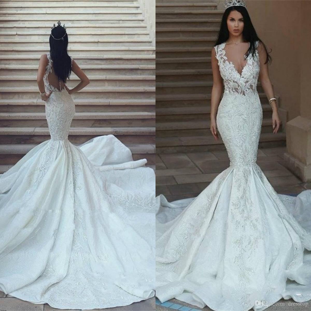 V Neck Vintage Mermaid Wedding Dresses Sleeveless Lace Appliqued Satin Sweep Train Bridal Gowns Beaded Sheer Buttons Back robes de mariée