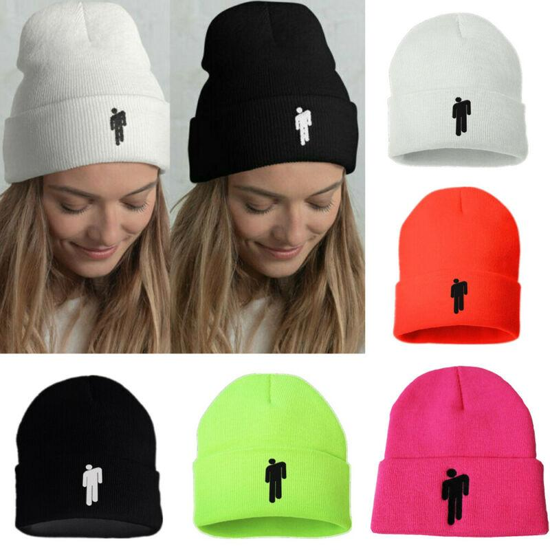 Estrenar Billie Eilish Beanie sombrero hombres de las mujeres de punto caliente de los sombreros de invierno para los hombres de las mujeres Sólido Hip-hop casual Abofeteado Gorros Capó