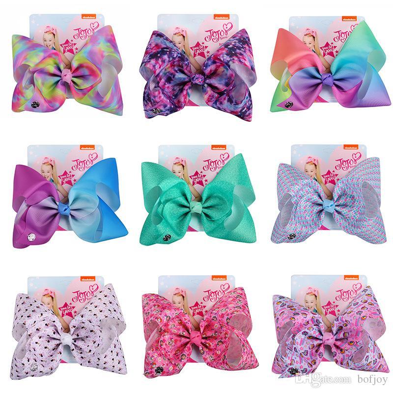 """8/"""" Large Hair Bows Girls Diamante Hair Bow Pink Puple Blue Hair Clip Accessories"""