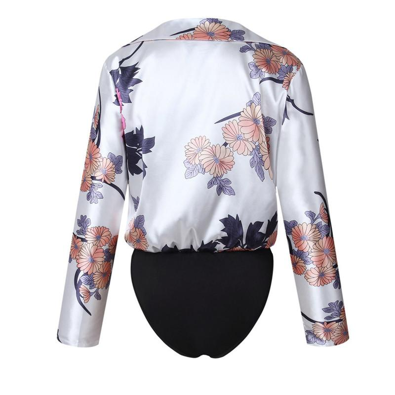 Women Ladies Floral Print Tuxedo Wrap Over Satin Bodysuit Jumpsuit D3