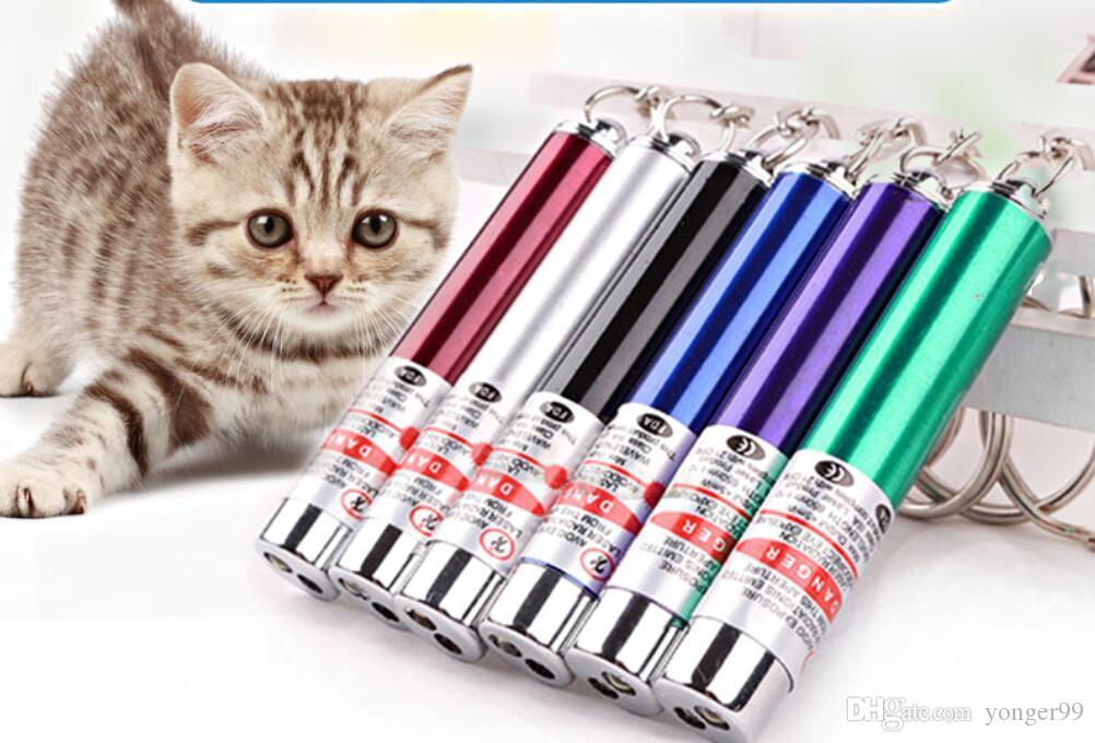 Anel chave Pointer Pen DHL laser vermelho com LED de luz branca Mostrar infravermelho portátil da vara Gatos engraçados Pet Toys Atacado