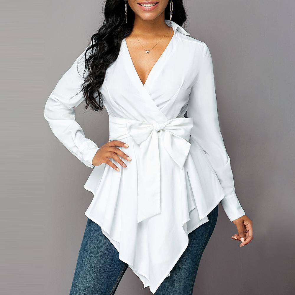 Wome blusa e Tops Autumn Branco V Neck Camisa assimétrica Hem Sashes Blusas Moda Escritório Camisa das senhoras Sólidos Blusas 2019 D30