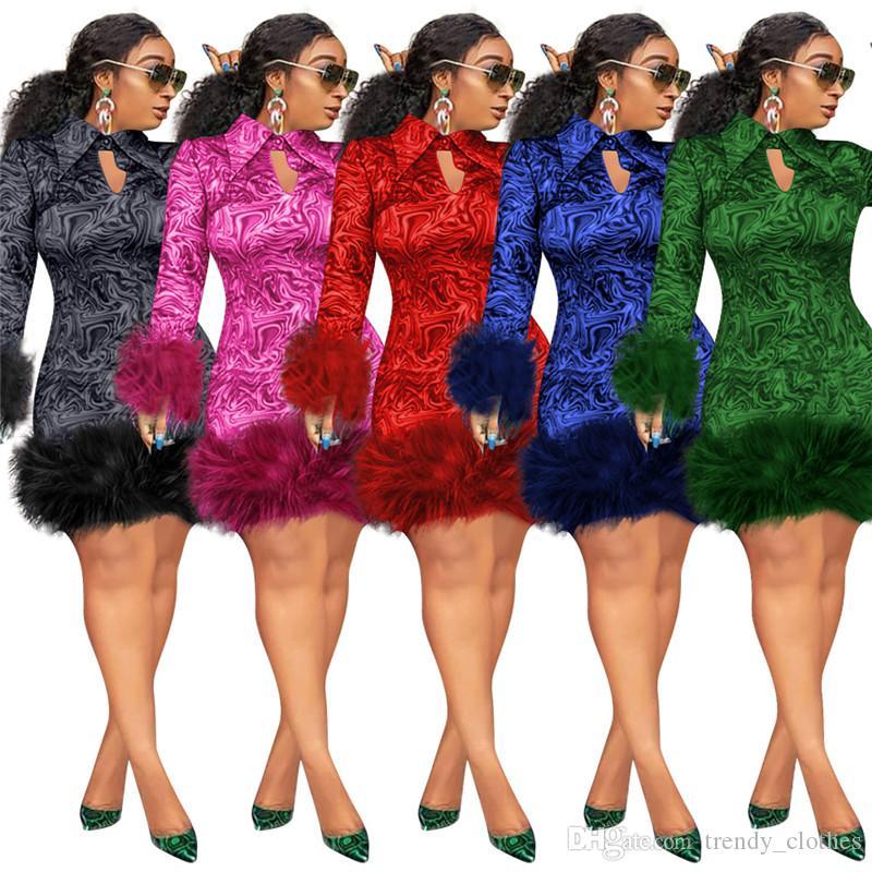 Le donne più il formato mini abiti S-5XL lungo sexy maniche pullover bavero del collo sciolto gonne eleganti cadono i vestiti invernali di trasporto libero che vende 2450