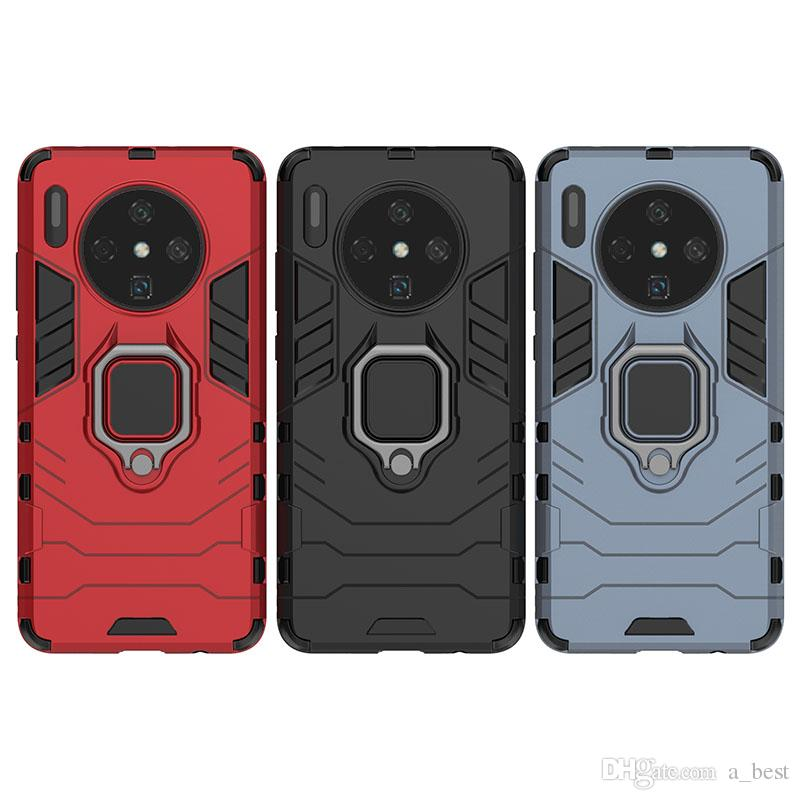 Telefone Capa Para Huawei Companheiro 30 Dedo anel titular Iron Man armadura à prova de choque Protector híbrido Magro rígido Silicone tampa do telefone para Huawei Mate30