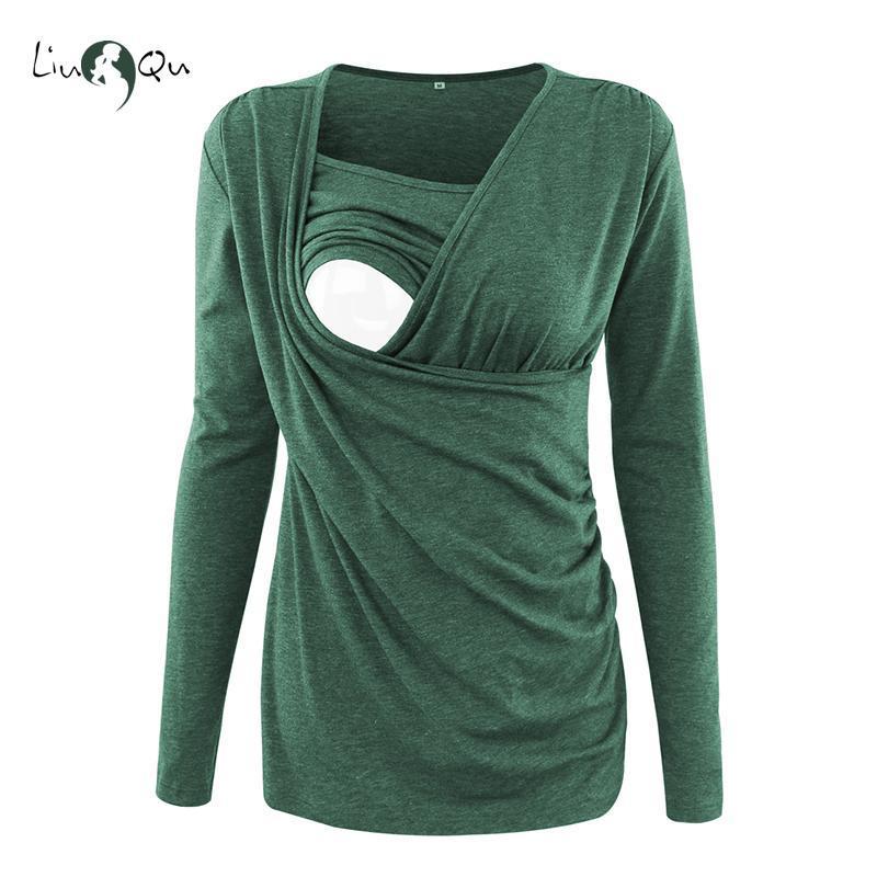 Soins infirmiers Hauts de maternité Vêtements d'hiver à manches longues T-shirt d'allaitement Top grossesse Vêtements femme Chemisier Plus Size Vert Rose