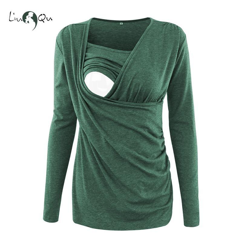 Enfermagem Tops Maternidade roupas de inverno manga comprida camiseta Gravidez Amamentação Top Roupa Mulheres Blusa Plus Size Rosa Verde