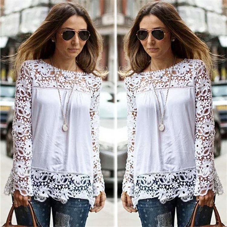 2019 Frühling Herbst Frauen weiße Blusen Baumwollmischung Designer Damen Shirts Langarm Hohl Blumen Vintage Damenbekleidung