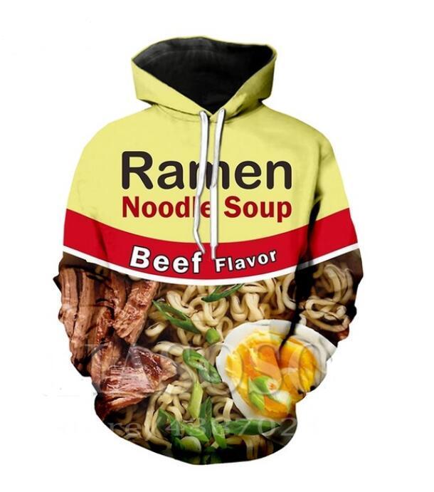 Ramen Noodle à capuche Hoodies Hommes Femmes manches longues imprimé All Over Pull à capuche Hauts Casual Sweat 3D Taille Plus SSY0175