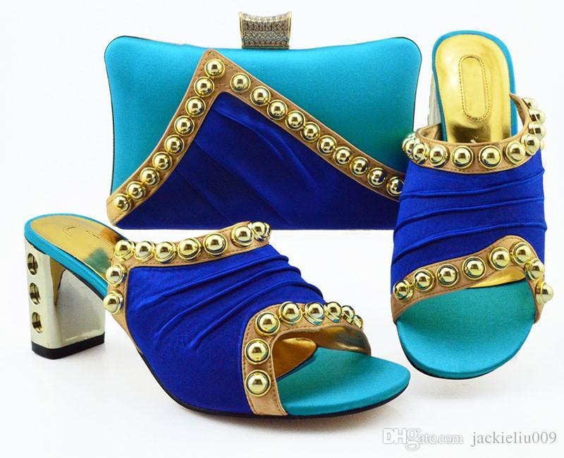 Céu bonito mulheres azuis vestir sapatos combinar bolsa com decoração de metal bombas africanos e conjunto de saco MM1090,7.5CM