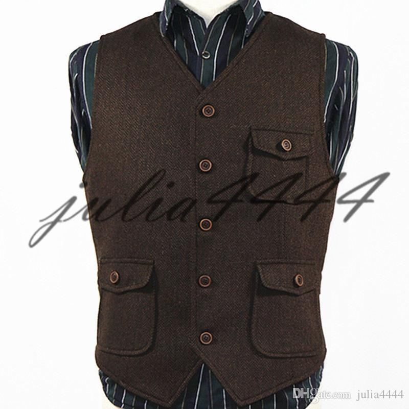 Terno Brasão Vest Vestido 2019 Dark Brown Groom Coletes País Lã casamento Herringbone Tweed Vest Slim Fit de Homens Vestido Colete Farm