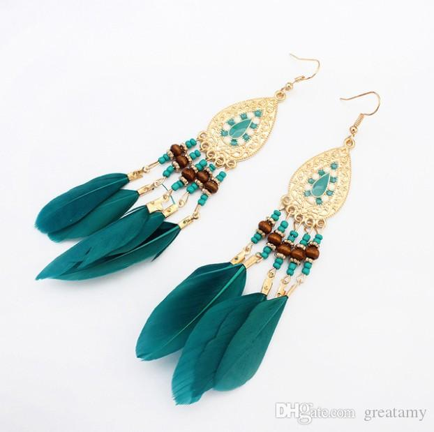 Bohemian earrings handmade fashion jewelry girls vintagel Feather Earrings Long-style accessories for summer party 5 colors