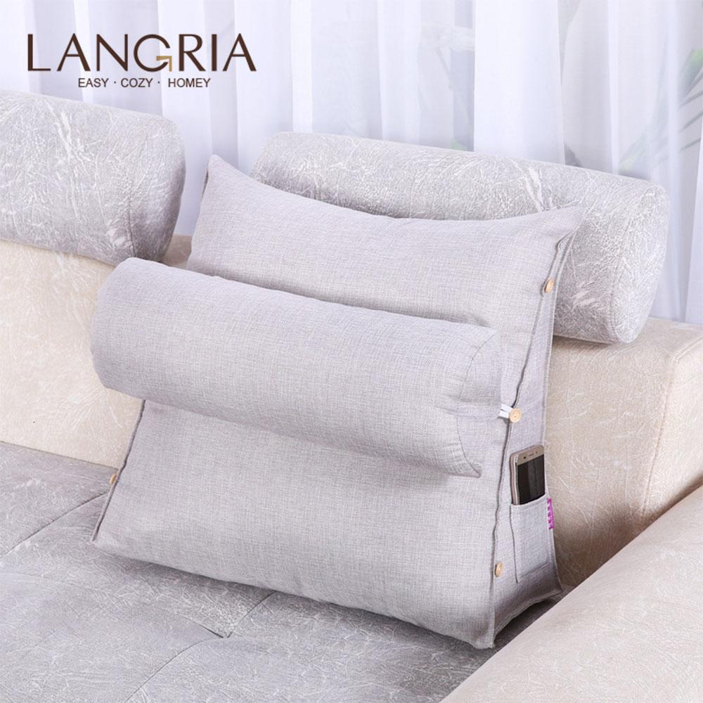 Adjustable Cotton Linen Wedge Cushion Pillow Back Support Wedge Design Detachable Washable with One-side Pocket for Home Bedroom SH190925