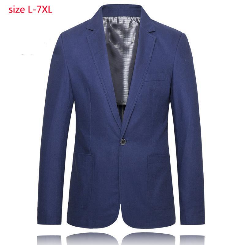 2020 New Arrival Fashion Spring And Summer Obese Large Cotton Flax Suit Men Casual Thin Jacket Single Breasted Plus Size XL-7XL