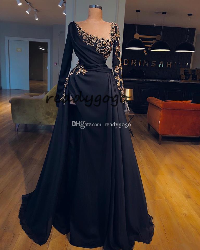 Elegant Evening Formal Dresses With long sleeve 2019 Zuhair Murad Muslim Dress Abaya Long Dubai Kaftan gold lace Prom Dresses Side Cuts