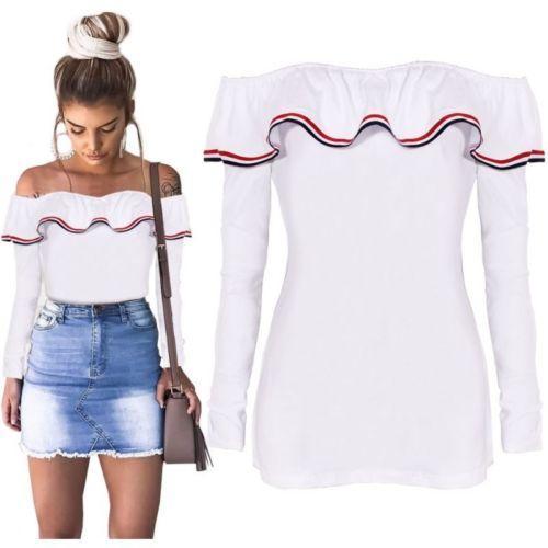 여성의 티셔츠 섹시한 어깨 숙녀 티셔츠 2021 패션 여름 긴 소매 셔츠 느슨한 캐주얼 티셔츠 탑스