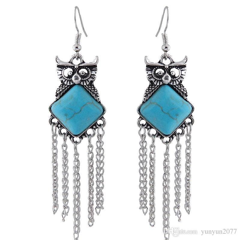 Retro Vintage Fashion Accessories Jewelry Ancient Turquoise Geometric Square Owl Pendant Chain Tassel Charm Drop Dangle Earrings For Women