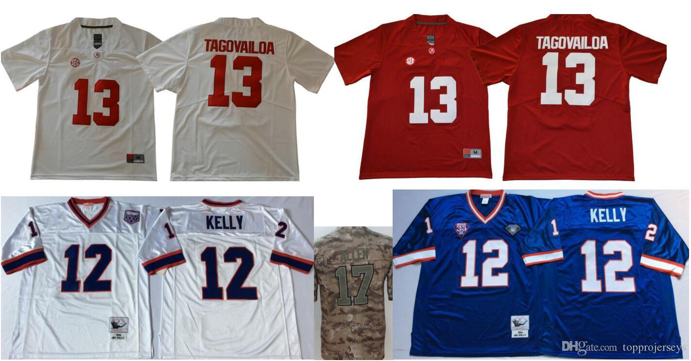 finest selection f76fc e78f1 2019 Alabama Crimson Tide #13 Tua Tagovailoa College Mens Vintage Buffalo  12 Jim Kelly 17 Josh Allen Color Rush American Football Team Jerseys From  ...