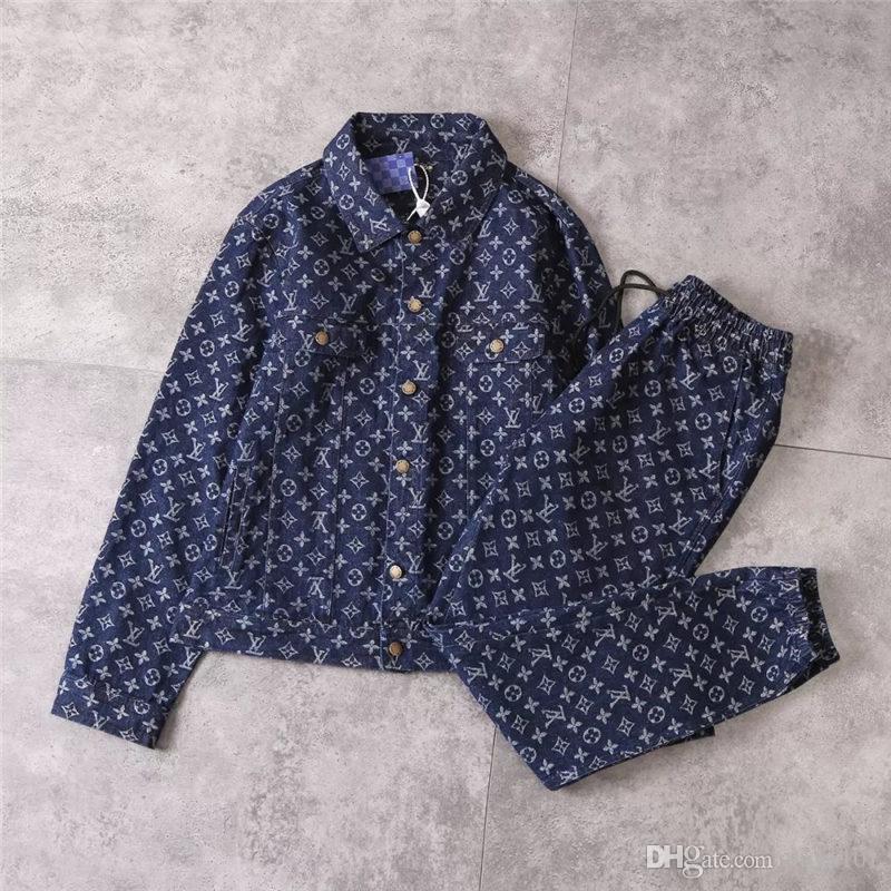 뉴 데님 자켓 남성과 여성 브랜드 자켓 고품질 데님 정장 베스트 버전 자켓 + 바지 남성 자켓 스웨터
