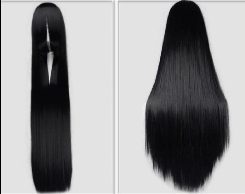 Europäische und amerikanische Art und Weise Anime Perücke weiß schwarz super lange glattes Haar lange Haar 120CM Kostüm Styling Perücke Set