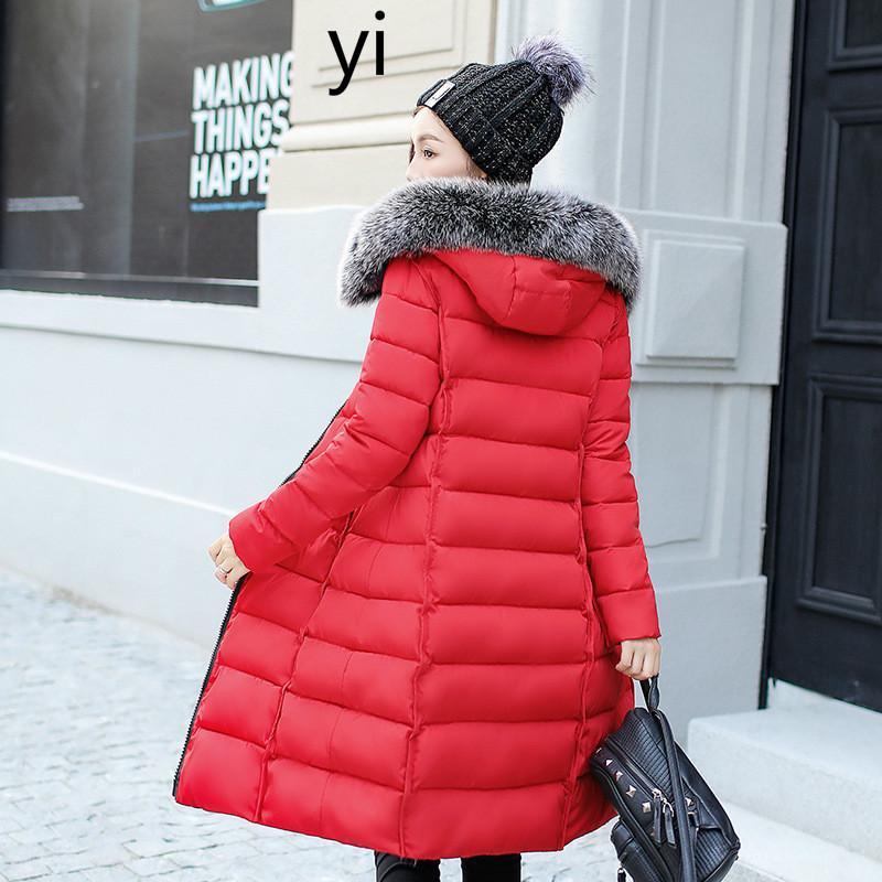 yi 2019 winter new fashion long version two sides wearing cotton jacket warm hood big hair collar cotton womens clothing
