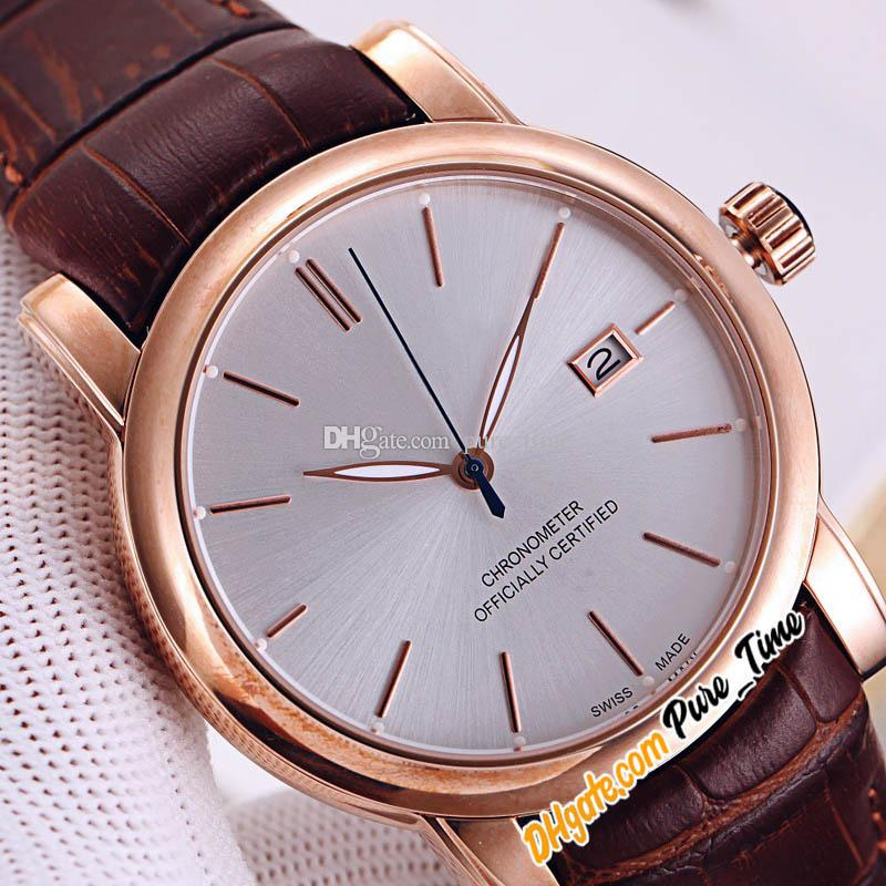 New San Marco Classico 8156-111-2/90 Automatic Mens Watch Date Stud White Dial Rose Gold Case Brown Leather Strap Watches Pure_Time 5 Color