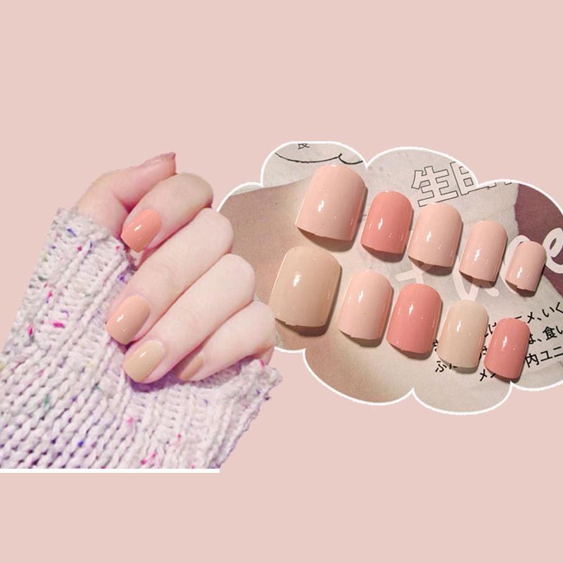 Красота Здоровье женщин Pure Color Nail Мода Поддельные девушки Сладкие Solid Color Short Размер накладные ногти квадратная голова полного покрытия ногтей