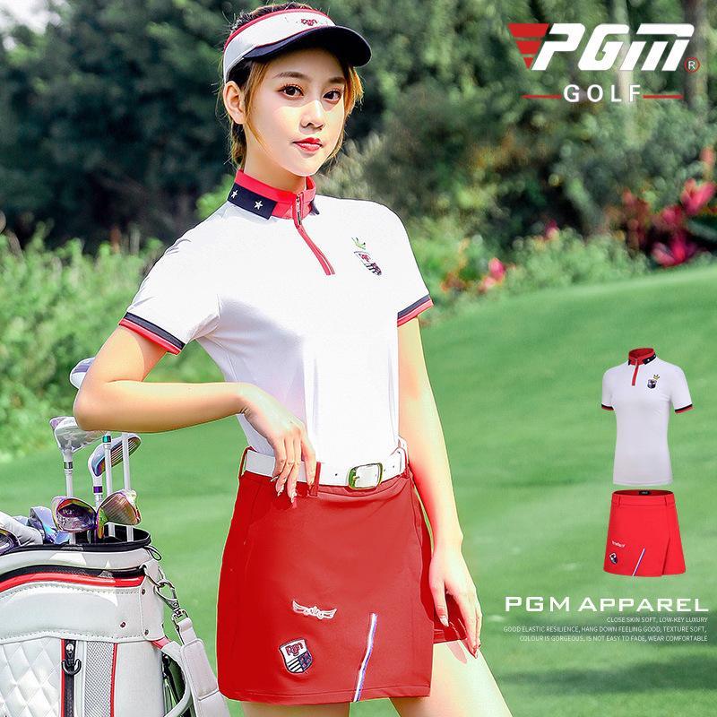 PGM été Golf Jupe Set à manches courtes femmes Zipper Shirt + A doublé Shorts respirante pour femmes Séchage rapide Jupes Vêtements de golf D0743