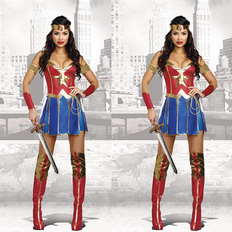 free shipping Halloween cosplay Superwoman Cosplay Uniform Warrior Costume Supergirl Stage Wonder Woman DS Costume