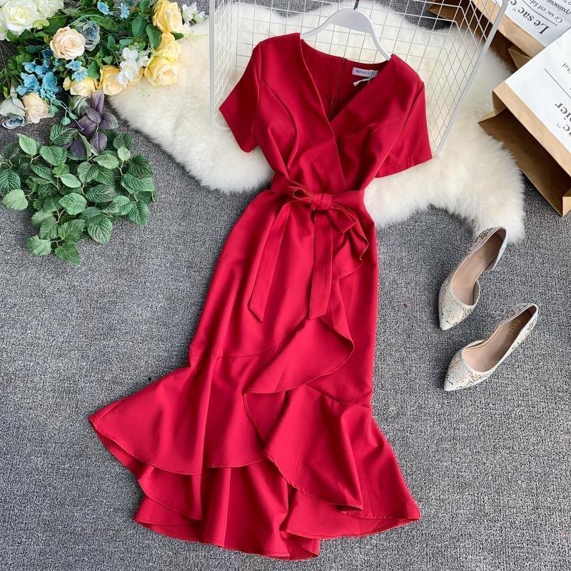 Kadın Giyim Bayan Modelleri 2019 Yaz Bayan Ruffled Kısa Sleeve Wrap Elbise V Yaka Yüksek Bel Katı Zarif Kadınlar Sashes vestidos