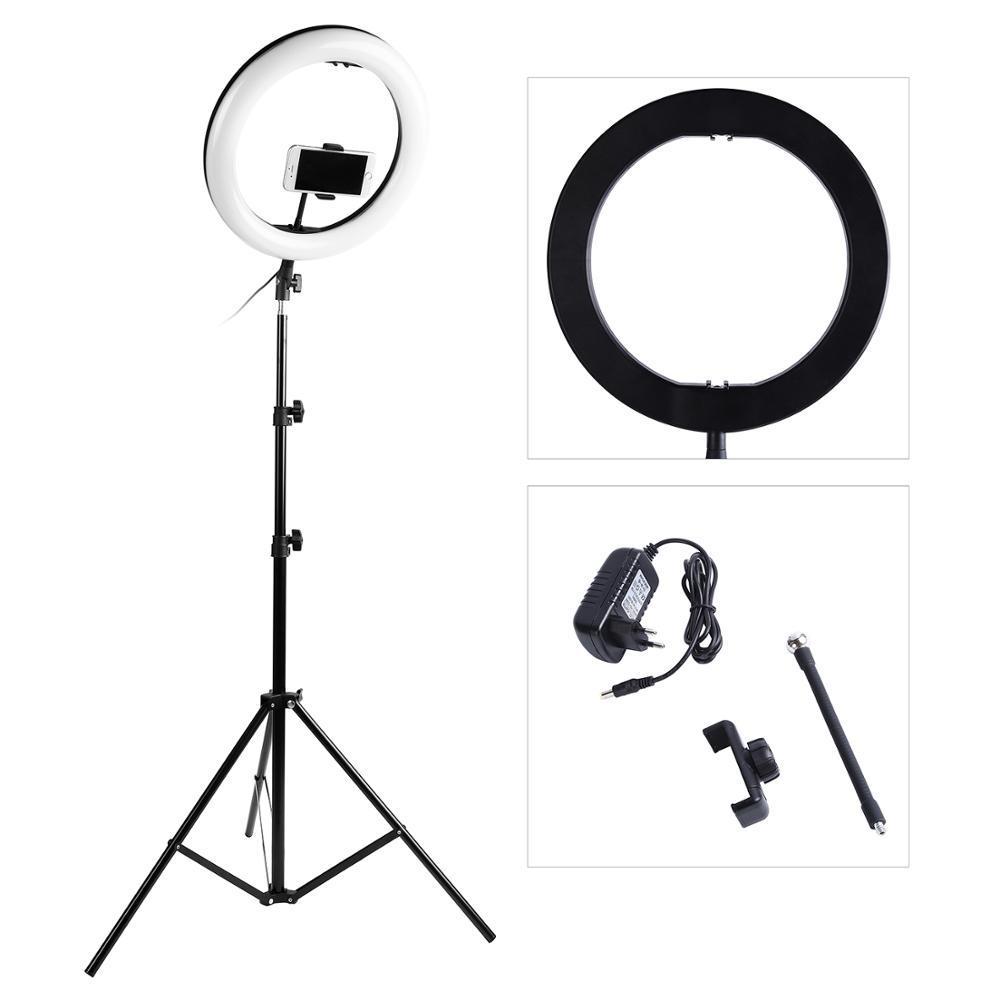 التصوير LED الصور الشخصية للحلقة الضوء 14inch 336 الخرز عكس الضوء كاميرا الهاتف حلقة مصباح مع 200CM الوقوف ترايبود للماكياج فيديو لايف