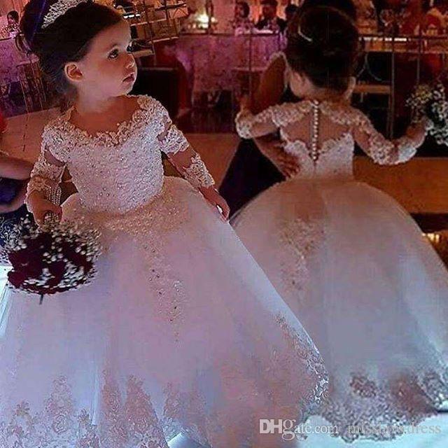 2020 Jewel bonito laço no pescoço Flor Meninas Vestidos mangas compridas Tulle rendas frisado Primeira Comunhão Vestidos Meninas Pageant Vestidos com tampa Botão