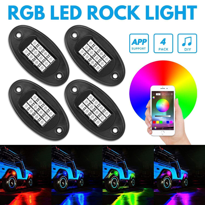 RGB LED Rock Lights Bluetooth Control ، أطقم إضاءة LED نيون LED متعددة الألوان بقدرة 20 واط ، وضع الموسيقى في وظيفة توقيت IP68 للماء