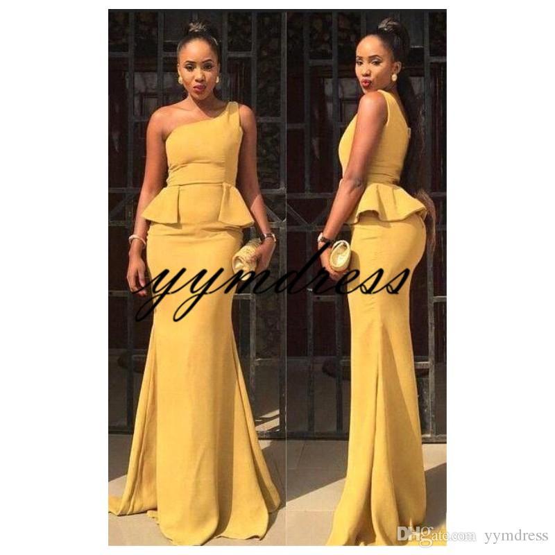 Robes de soirée simples jaunes 2019 une épaule cou fermeture à glissière retour balayage train fille noire sirène robes de bal robes de soirée