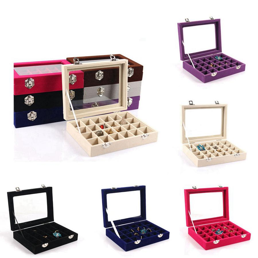 24 Grid Velvet Glass Jewelry Ring Display Organizer Box Tray Holder Earrings Storage Case Showcase Display Storage 24 Section Boxes RRA3237