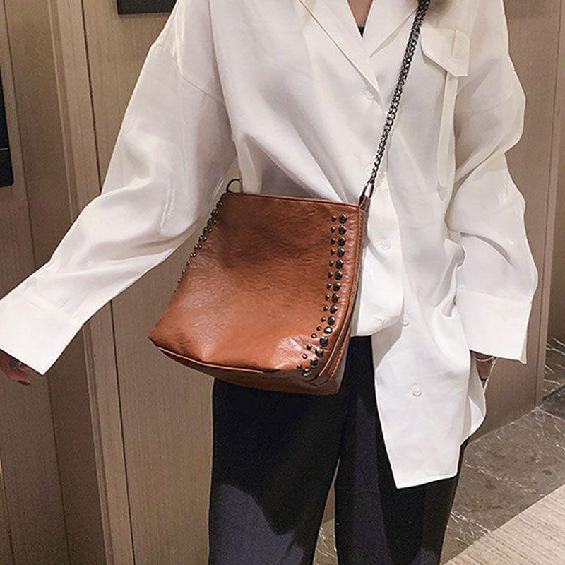 Новый ретро Женщины Ковш сумка большой емкости плеча сумки Кожа PU Сумочка Мода Мягкая Ковш сумка Женский Zipper Black
