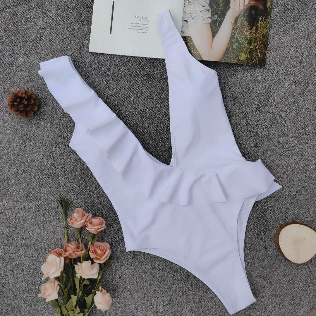 Avrupa Ve Amerika Tarzı Patlama Modelleri Tek Parça Mayo Katı Renk fırfır Bikini Womens