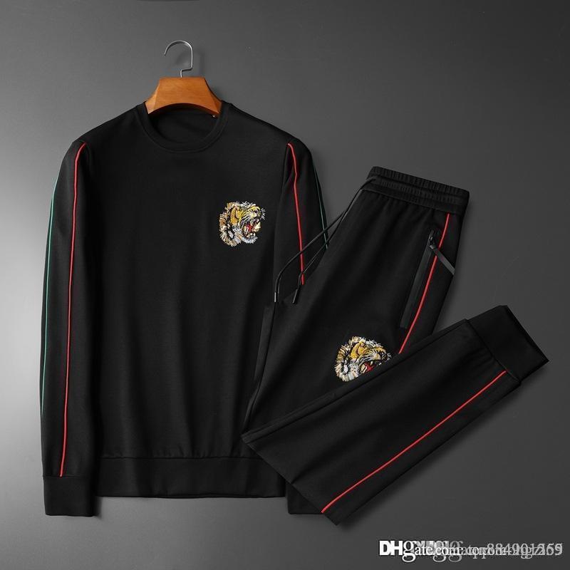 Yeni Tiger Kafa Nakış Tasarımcı Eşofman Casual Luxury Spor Eşofmanlar Siyah Koşu Setleri takım elbise mens tasarımcı eşofman Sweat