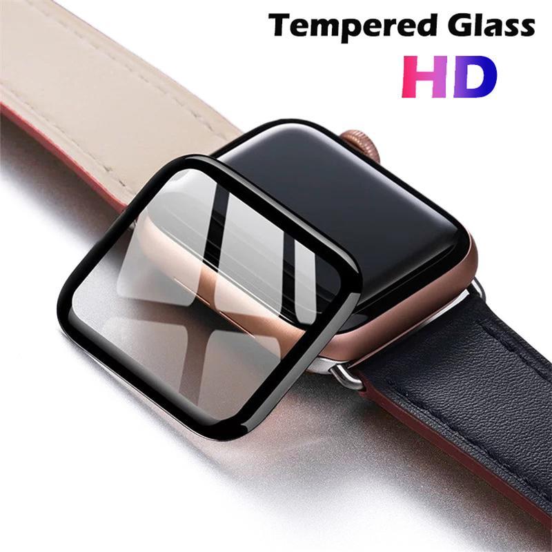 3D completa cobertura de vidro temperado para Apple Watch 5 Series faixa de tampa 5 4 3 2 1 tela de vidro protetor para relógio inteligente 38 milímetros 42 milímetros 40 milímetros 44 milímetros