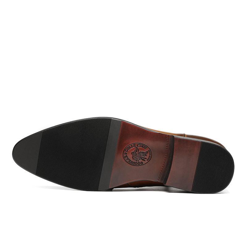 Botas de cuero de vaca Hombres Botas de cuero Puntas del dedo del pie Botas del cortocircuito del estilo Hombre Zapatos de cuero Negro de trabajo de Brown